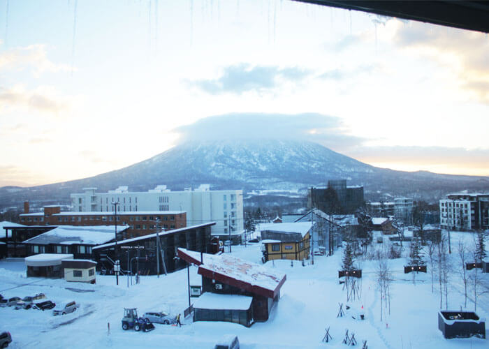 View of Niseko Grand Hirafu from Ki Niseko Hotel.