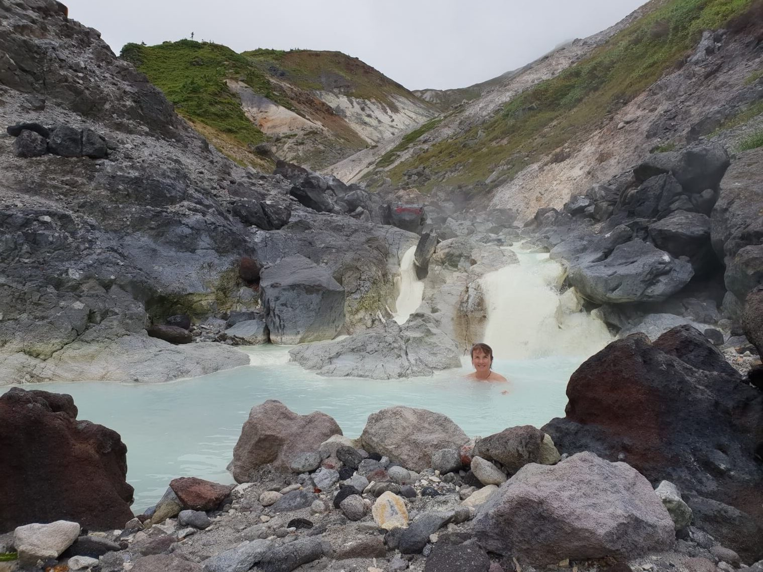 A day-hike in Towada-Hachimantai National Park leads to this hot sulfur stream