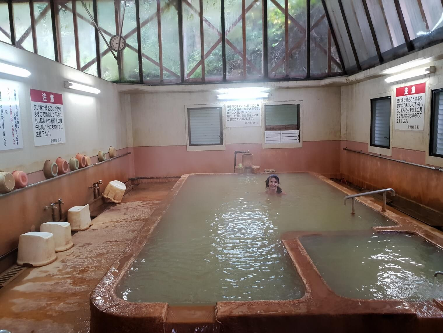 Mineral-rich waters of a community bath house in central Kyushu.