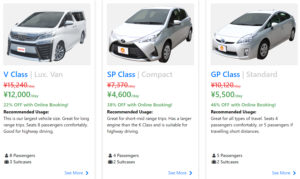 Screenshot of NICONICO Rent a Car vehicles and rates web page. Showing 3 cards with car images at the top and pricing and descriptions below.