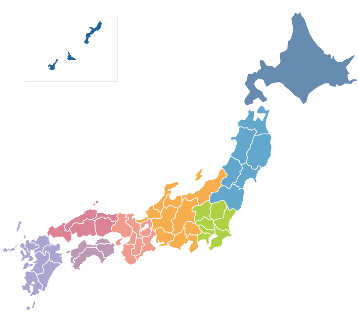 Colored map of Japan's prefectures